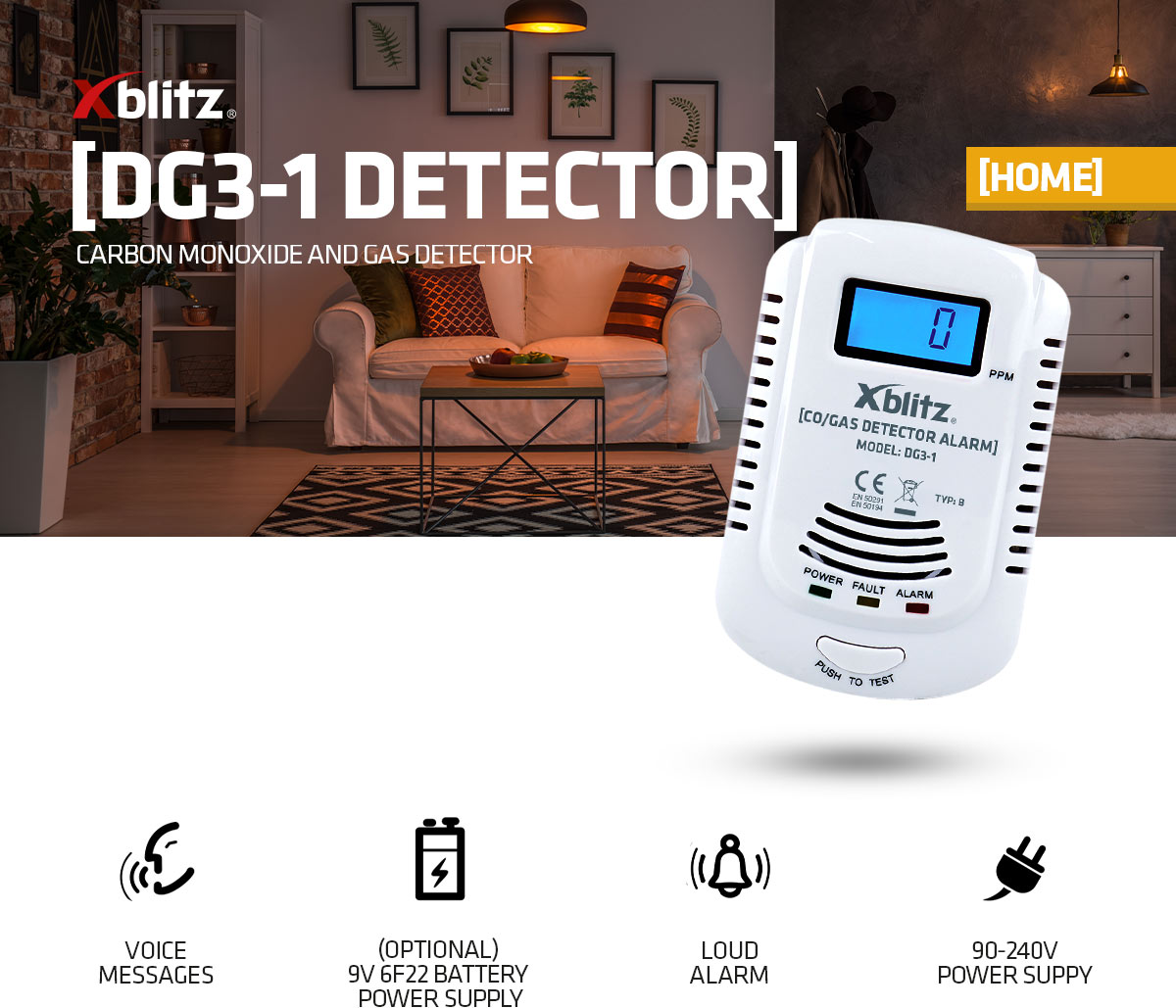 Xblitz DG3-1 carbon monoxide and flammable gas detector
