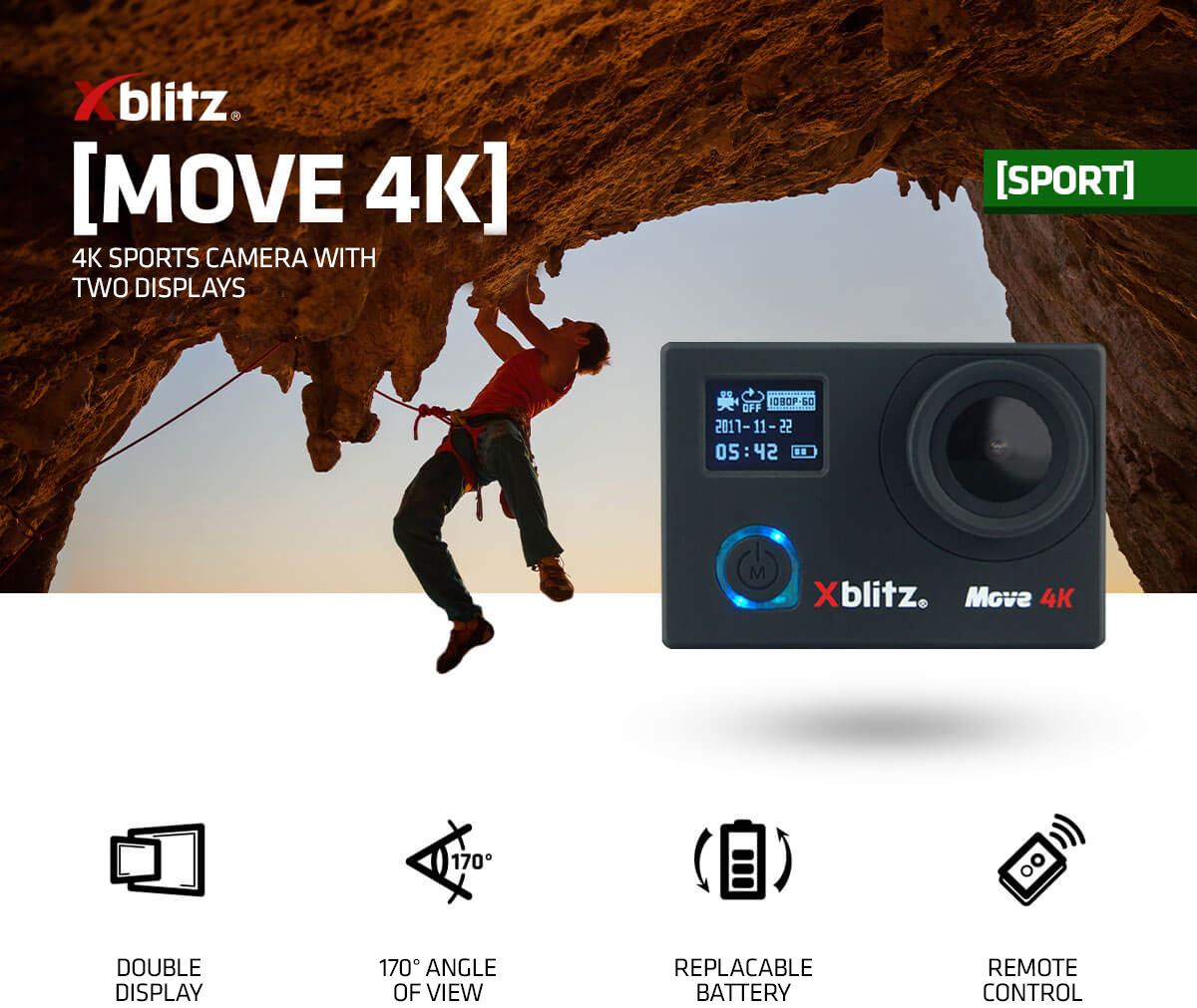 Xblitz Move 4K sports camera with double display