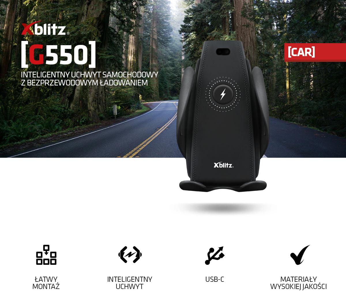 Inteligentny uchwyt samochodowy z bezprzewodowym ładowaniem Xblitz G550