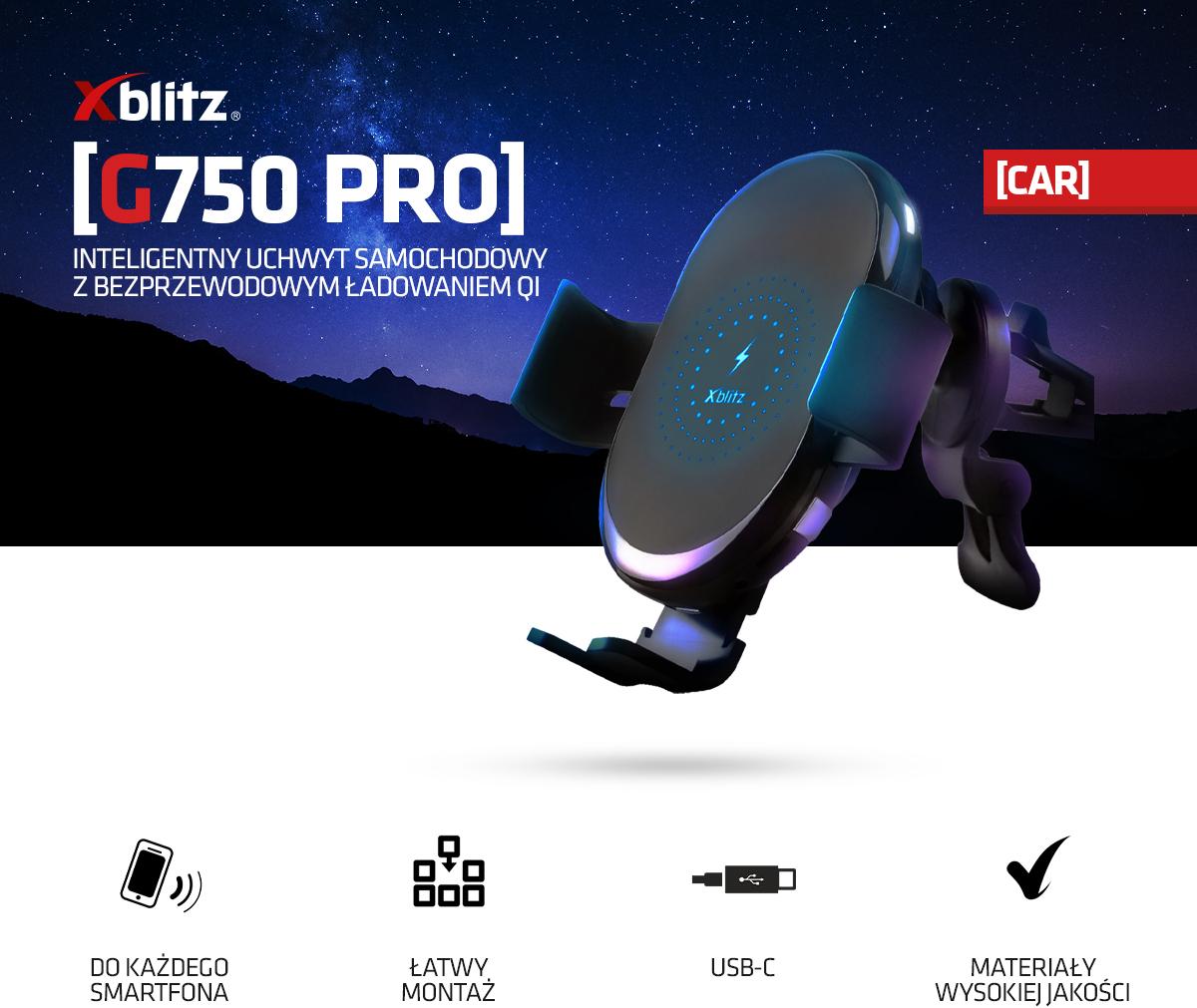INTELIGENTNY UCHWYT SAMOCHODOWY XBLITZ G750 PRO
