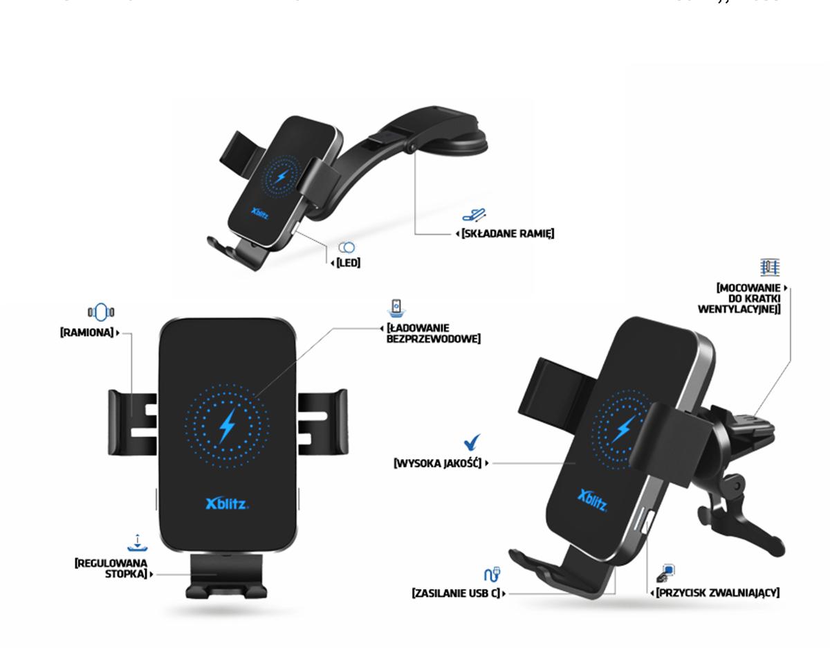 Xblitz G850 PRO Car Holder with QI technology