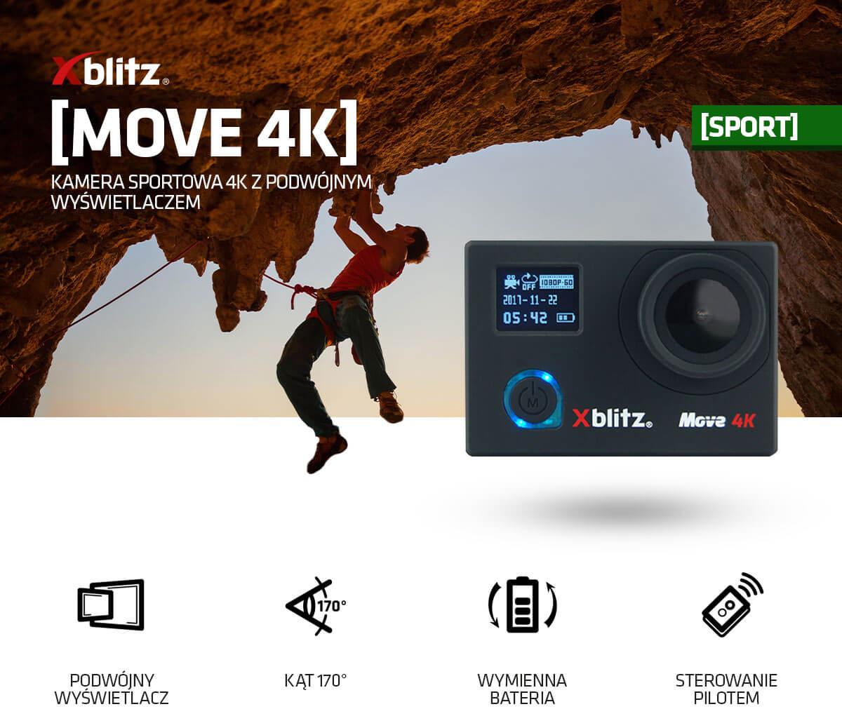 Kamera sportowa z podwójnym wyświetlaczem Xblitz Move 4K