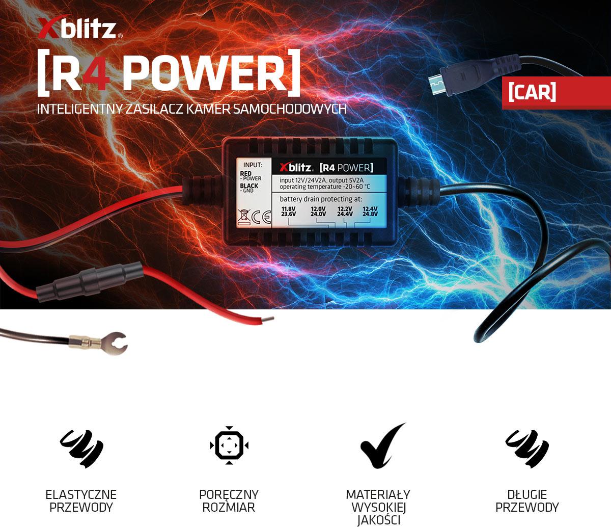 Inteligentny zasilacz kamer samochowych Xblitz R4 POWER