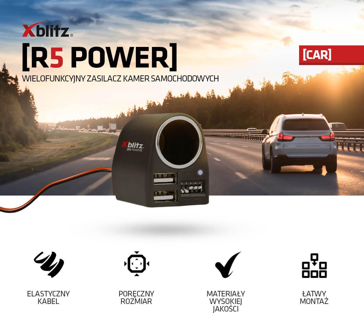Wielofunkcyjny zasilacz kamer samochodowych Xblitz R5 POWER