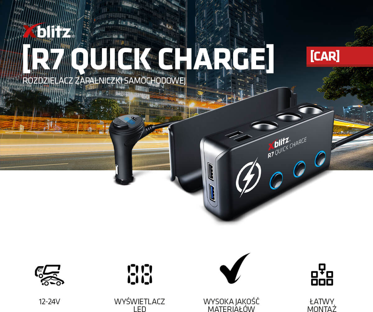 Rozdzielacz zapalniczki samochodowej Xblitz R7 Quick Charge