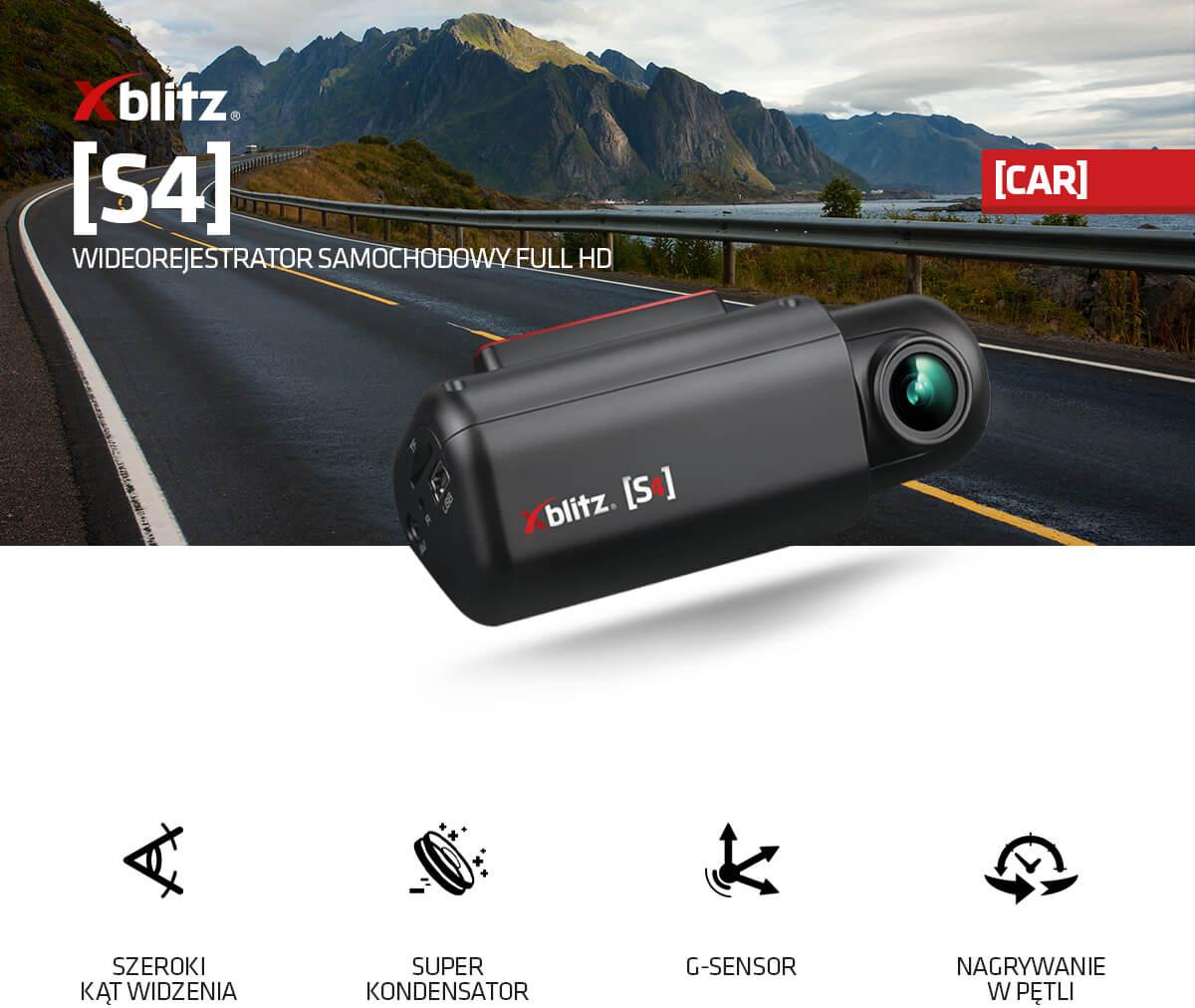 Wideorejestrator samochodowy FULL HD Xblitz S4