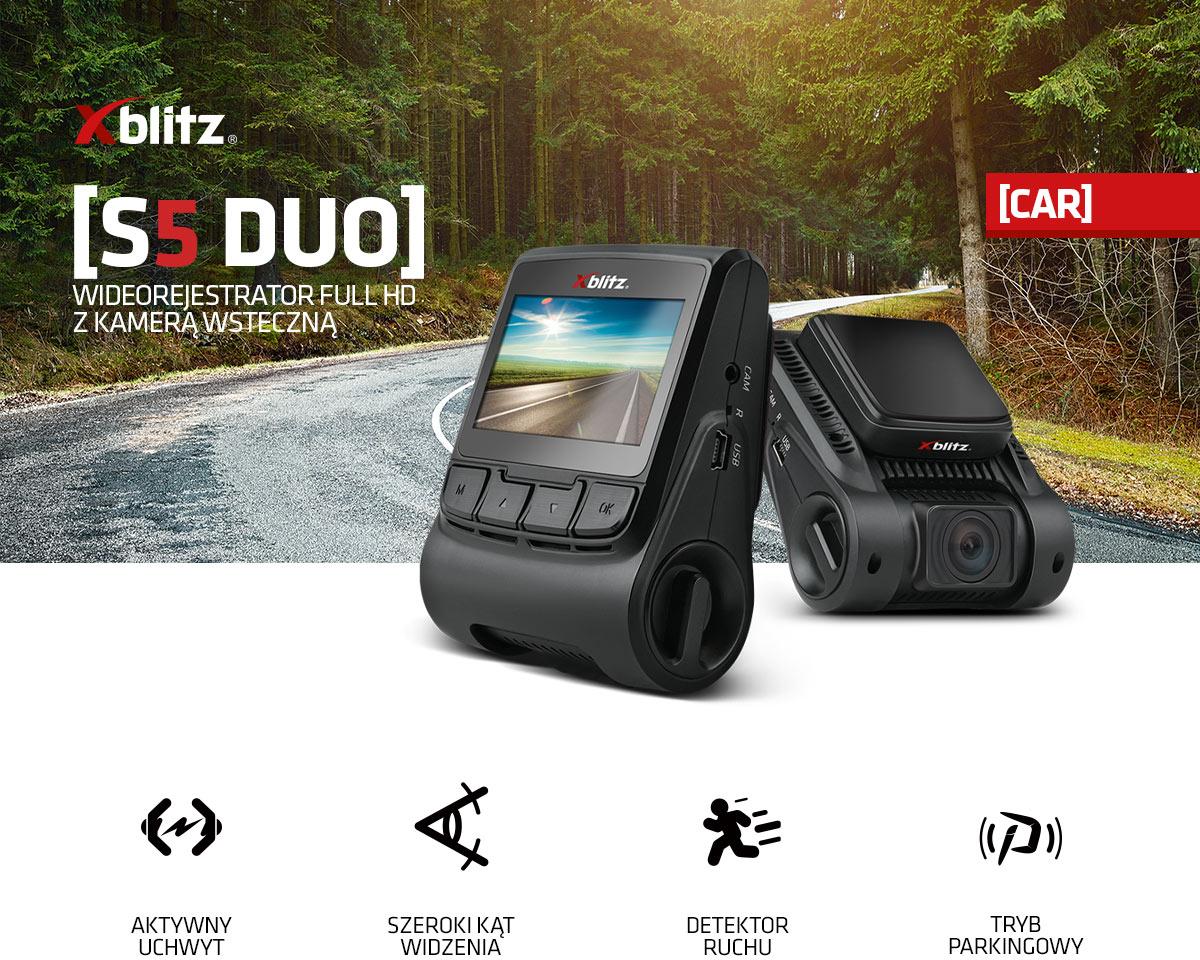 Wideorejestrator Full HD z kamerą wsteczną Xblitz S5 Duo