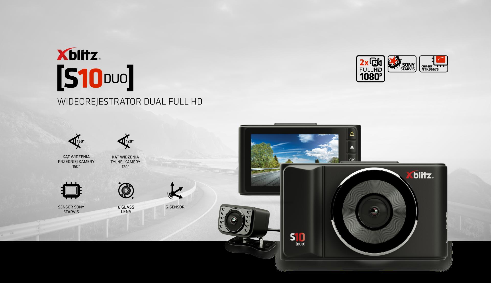 Xblitz S10 Duo to zestaw dwóch kamer samochodowych - przedniej i tylnej - które nagrywają obraz w rozdzielczości Full HD, dając Ci pełną kontrolę nad tym, co dzieje się po obu stronach Twojego pojazdu. Tylna kamera może być dodatkowo wykorzystana przy parkowaniu jako kamera cofania.