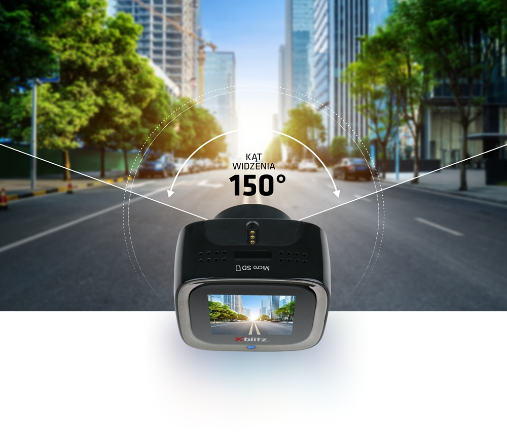 View angle of the Xblitz V1 dashcam is 150 degrees